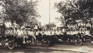"OUT FOR A RIDE Hockaday students enjoy a ""Hay Ride"" on the way to an Athletic Association Picnic in 1925. Photo provided by Holly Hook"