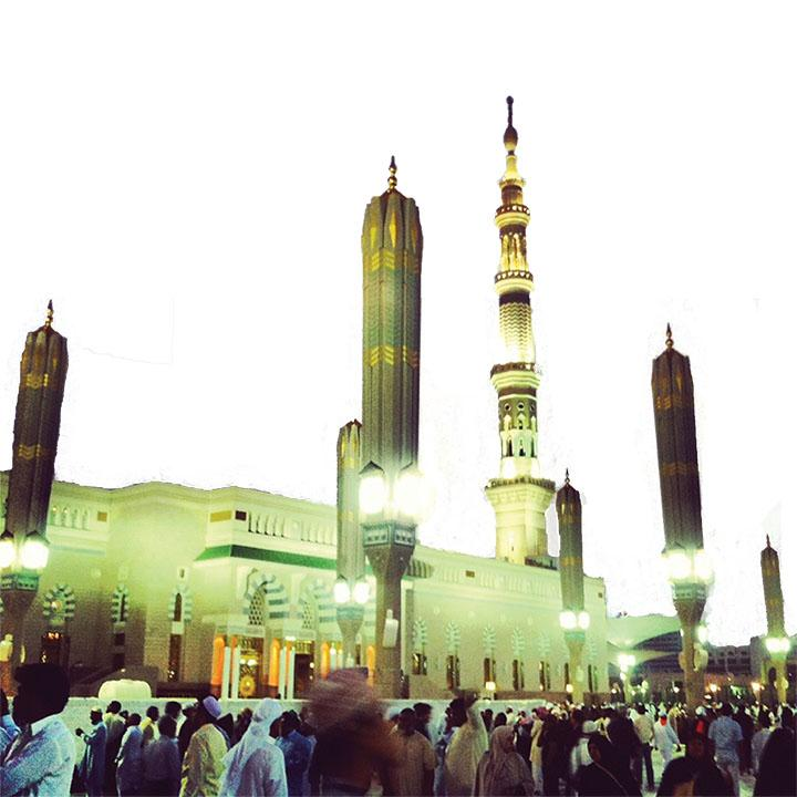 "HER JOURNEY Ahsan visits the Mosque of the Prophet Muhammad in Medina called ""Masjid al-Nabawi"" Photo provided by Raheela"