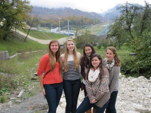 VOYAGE TO RUSSIA Sophomores Darcy Malican, Alexandra Randolph, Sarah Chan, Allison Lanfear, and Kate Cooper visit a former Olympic venue that was used for a long jump ski competition. Photo by Anne-Marie Corley