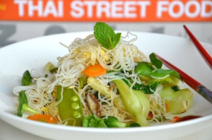 Rice noodles with vegetables. Photo provided by thefamilydinnerbook.com