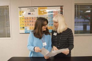 ACCEPTANCE LETTERS  In February, Middle School science teachers Patti Black and Olga O'Reilly received letters notifying them that they are the recipients of this year's Prentiss Grants. Photo by Alaina Rodriguez