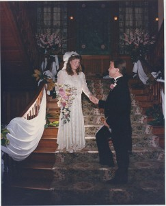 Shane Bourek takes the hand of his bride, Terry Bourek. PHOTO PROVIDED BY TERRY BOUREK