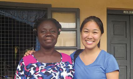 STANFORD STANDOUT Alum Christine Chen poses with Helena Obeng-Asamoah, her host in Ghana. PHOTO COURTESY OF HANNAH KARPEL