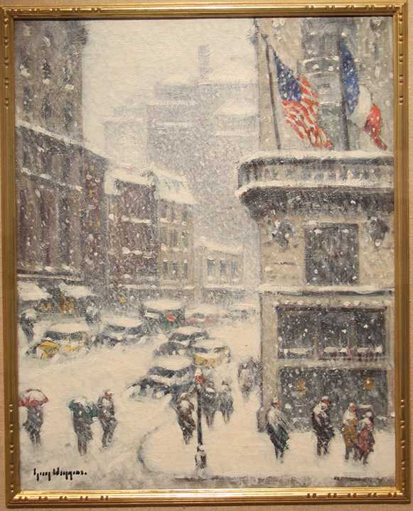 "Guy C. Wiggins ""St. Regis in the Winter"" can be found in the Memorial Living Room."