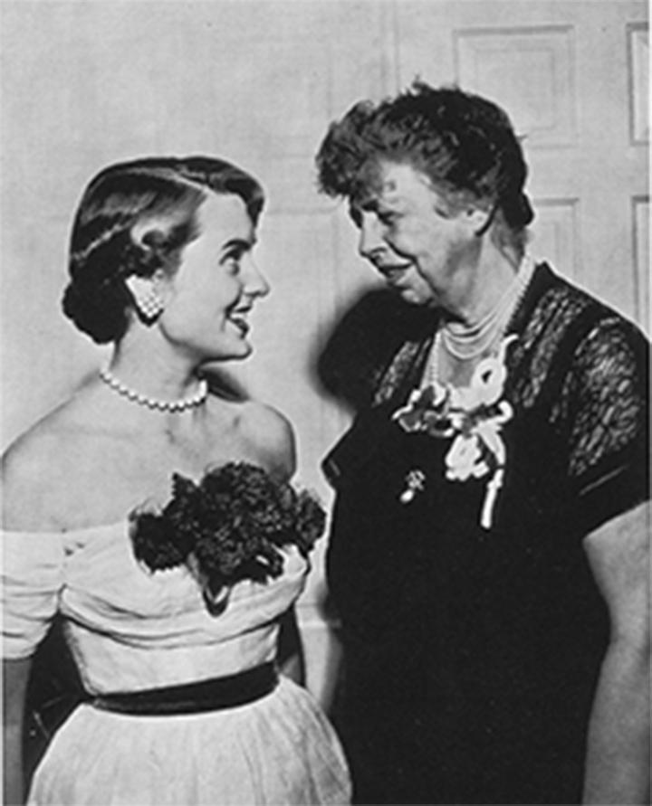 ANOTHER FIRESIDE CHAT  The day before Chandler Roosevelt Lindsley's Hockaday Graduation, she talks with her grandmother Eleanor Roosevelt  in 1952. PHOTO PROVIDED BY THE HOCKADAY SCHOOL AN ANTHOLOGY OF VOICES AND VIEWS 1913-2013