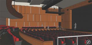 IN WITH THE NEW A tenative computer generated image of what the auditorium will look like. ILLUSTRATION PROVIDED BY GOOD FULTON AND FARRELL