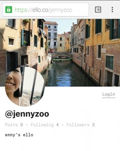 AD-FREE  Sophomore Jenny Zhu uses her Ello account to post pictures and keep up with friends , without the distraction of advertisements.
