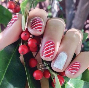 SEASONAL NAILS Shams paints nails with a candy-cane twist. PHOTO PROVIDED BY SABAH SHAMS