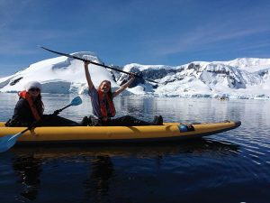 ICE, ICE BABY McManemin kayaks through the icy Antarctic waters with her older sister, Ryan McManemin