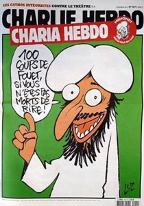 An example of one of the Charlie Hebdo magazine covers that sparked controversy and the attack on the morning of Jan. 7.