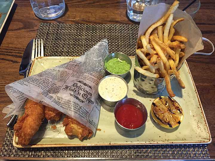 FRIED GOODNESS This fish and chips dish is the quintessential meal of PS 214, classic with a sophisticated twist. PHOTO PROVIDED BY ASHNA KUMAR