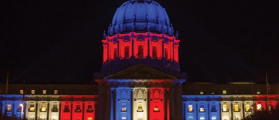 6:30 p.m. Nov. 13. The US Capitol is illuminated in French colors to honor those who died. President Obama pledged to allocate all resources to the war against ISIS. Photo provided by Thomas Hawk under CC BY-NC 2.0