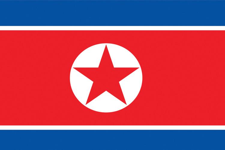 Image of the North Korean flag. Photo provided by Wikimedia Commonss