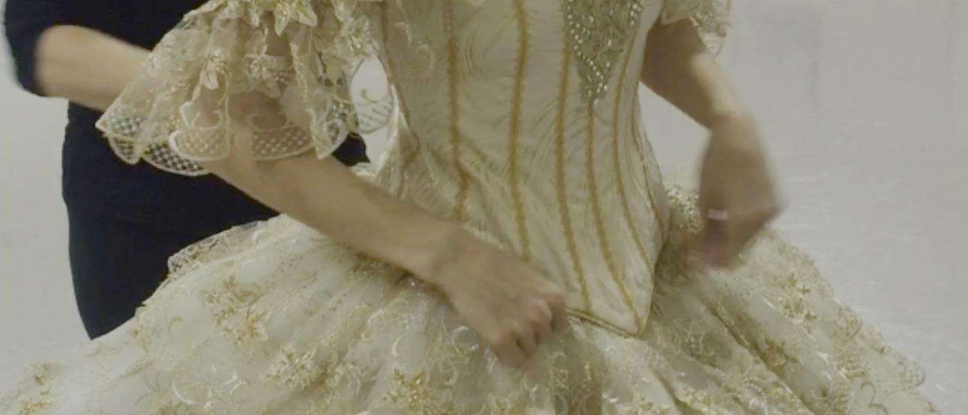 This white and gold tutu, worn by Bines for her Gamzatti variation, was designed and made especially for her.