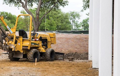 A trencher sits just outside the Ceramics studio where students will have the opportunity to take advantage of nice weather and work outside.