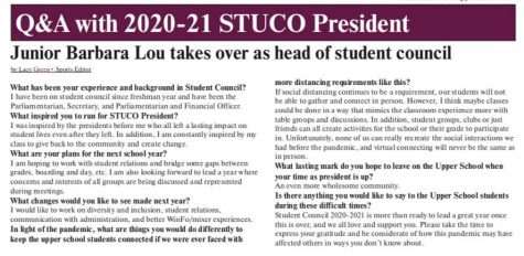 Q&A with 2020-21 STUCO President