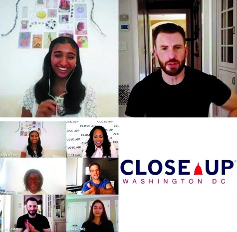 Actor Chris Evans surprises students on Zoom during a Close Up meeting. photo by Zoya Haq