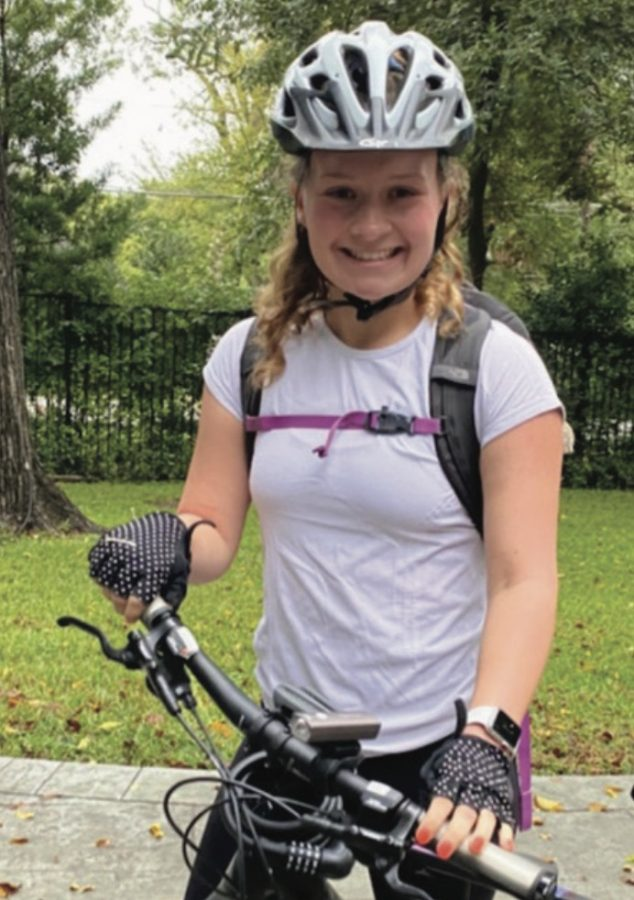 Coleman prepares in the morning before starting her 11-mile bike ride to school. She rides her bike to school and back on Tuesdays and Thursdays. photo courtesy of Kimberly Coleman.