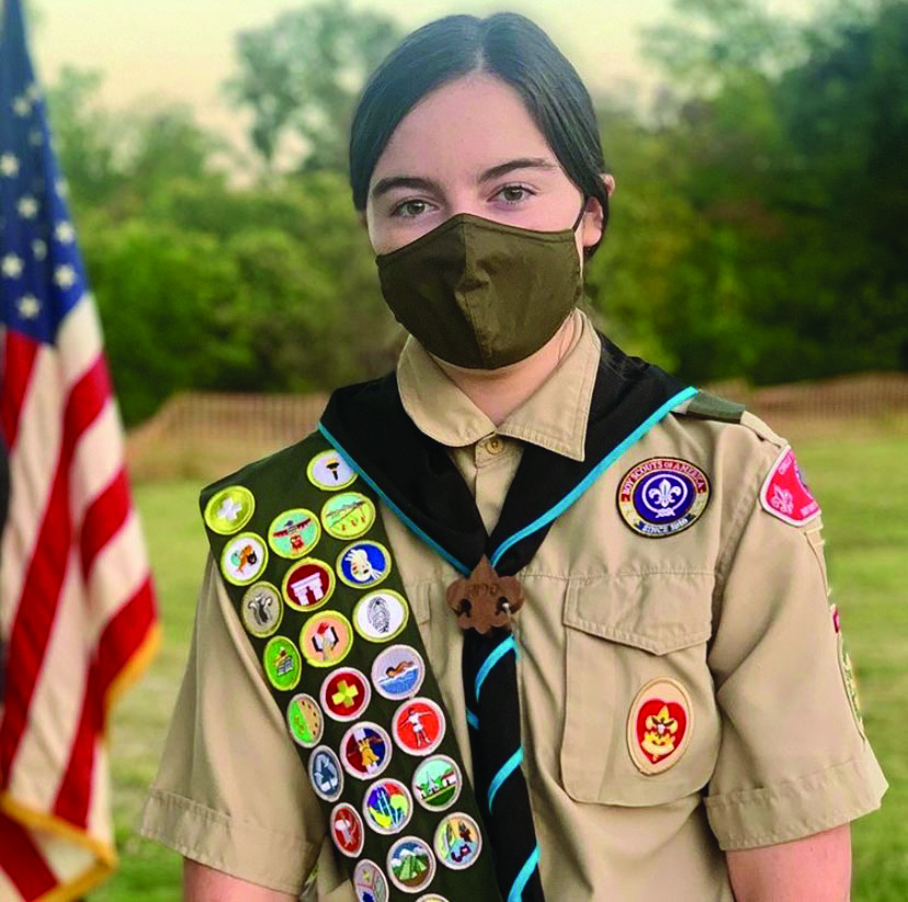 Rich+sports+her+hard-earned+badges+in+her+Scouts+BSA+uniform.+She+recently+joined+Scouts+BSA+and+became+part+of+the+inaugural+class+of+Female+Eagle+Scouts.+The+Eagle+is+the+highest+rank+in+Scouts+BSA.+photo+provided+by+Kimberly+Rich