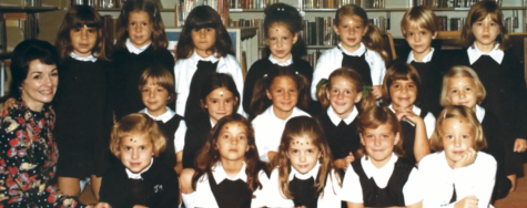 Tiffany Borlaug Rubi '88 sits on the bottom row, next to her first grade teacher Mrs. Levering in 1973. photo provided by Tiffany Borlaug Rubi