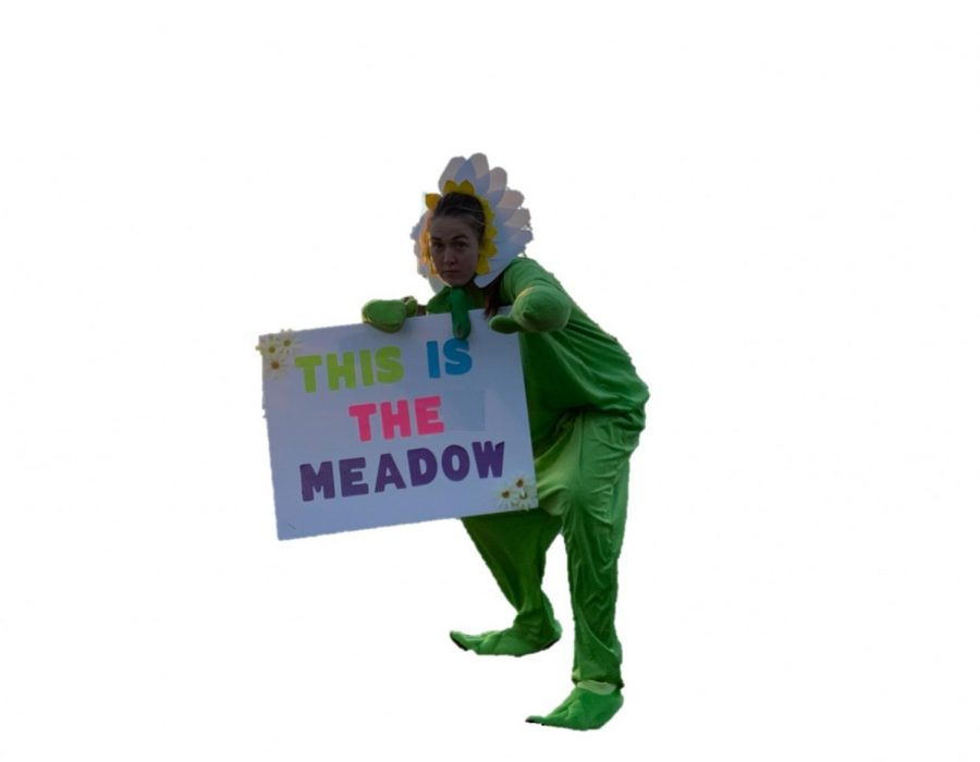 Margaret+Woodberry+%E2%80%9920+rallies+fans+before+a+game.+Without+a+real+mascot+costume%2C+the+Athletic+Board+chair+designed+the+costume+and+became+the+Daisy+by+herself.+In+the+future%2C+the+Athletic+Board+hopes+to+institute+a+true+mascot+and+create+an+official+costume.+